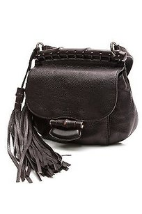 Gucci Pebbled Leather Nouveau Fringe Crossbody Satchel in Black
