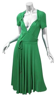 Gucci short dress Green Rayon Knit Plunging Neckline Belted Midi on Tradesy