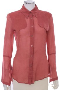 Gucci Silk Mauve Bell Cuffs Western Button Up Pink Coral Designer Sheer Button Down Shirt Rose