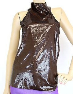 Gucci Sleeveless Sequined Halter Brown Halter Top