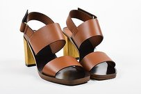 Gucci Leather Gold Tone Brown Sandals