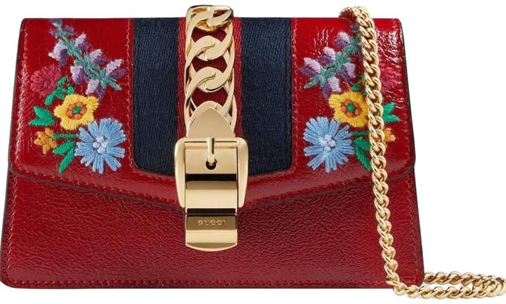 168e4be06098 Gucci Sylvie Super Mini Chain Wallet with Hook Red Leather Shoulder Bag -  Tradesy