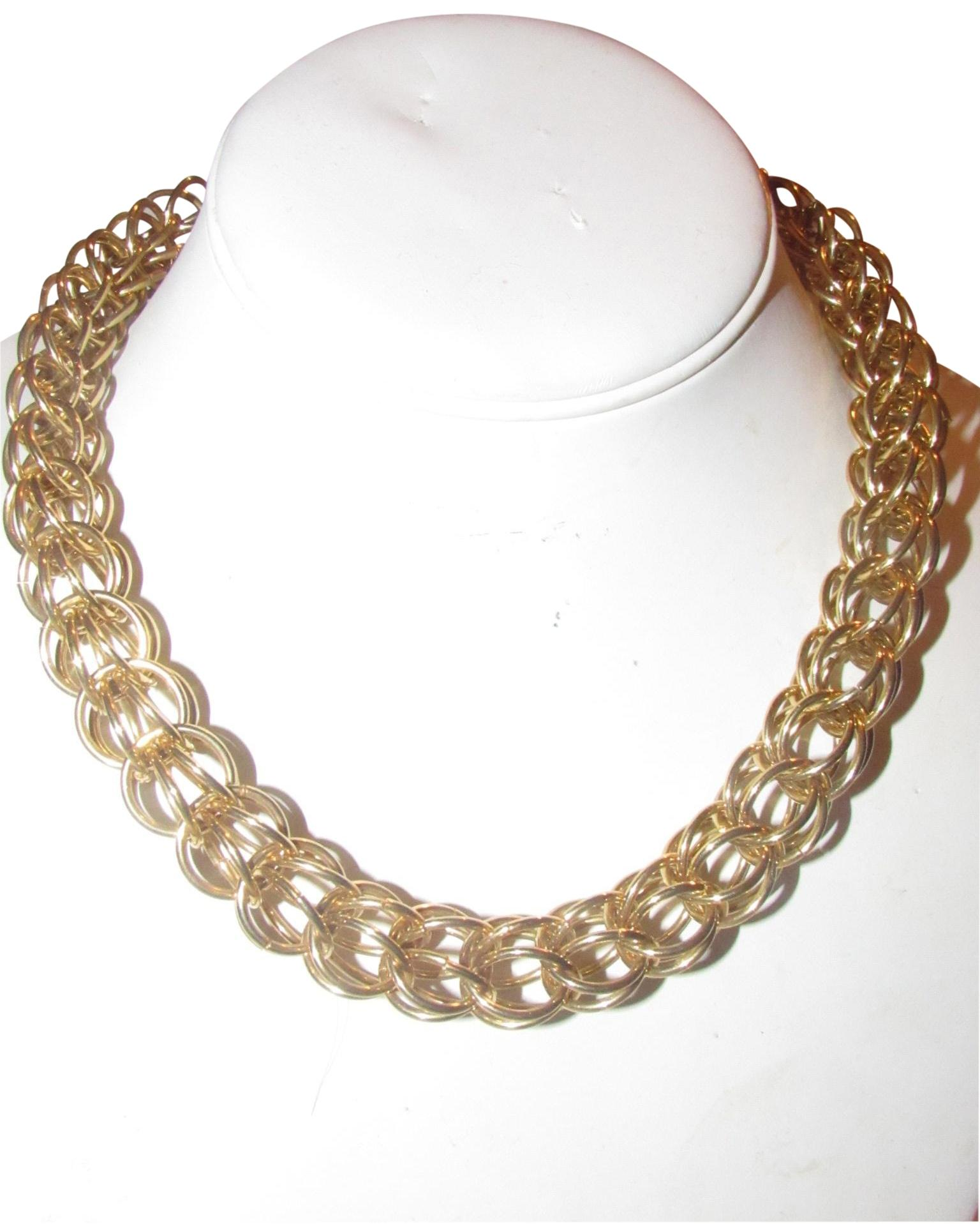Gucci Three Dimensional Woven Round Gold Links JewelryDesigner