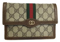 Gucci Vintage Khaki and Brown Clutch