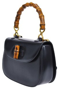 Gucci Vintage Gg Logos Leather Navy Satchel in Navy, Gold