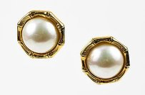 Gucci Vintage Gucci Gold Tone Faux Pearl Bamboo Clip On Button Earrings