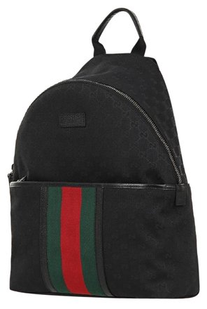 Gucci Black Green Red Canvas Leather Backpack - Tradesy
