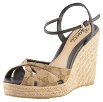 Gucci Women's Print Beige Wedges