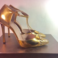 Gucci Women Studded Sale Clearance Warm Gold Silver Pumps