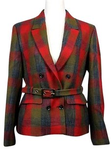 Gucci Womens Plaid Check Wool Multi-Color Jacket