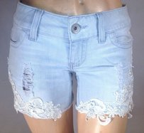 Guess Josie Denim And Lace Cut Off Shorts