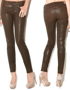 Guess Brittney Skinny Ankle Pants Brown Crinkle Coated Cognac 27 Skinny Jeans