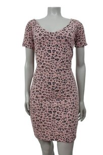Guess Black Animal Print Ruched Fitted Stretchy Dress