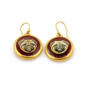 GURHAN Gurhan Antiquities Spell 24k Gold Onyx Painted Dog Dangle Earrings