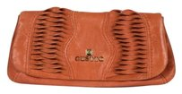 Gustto Gustto Womens Orange Textured Clutch Leather Casual Handbag Wallet