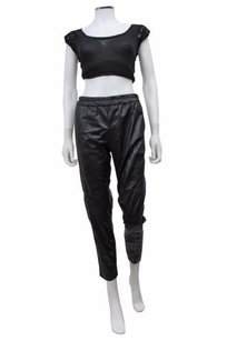H&M H Faux Leather Skinny Cropped Elastic Waist Capri/Cropped Pants Black