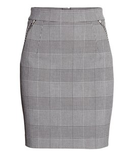 H&M Skirt Gray Checked