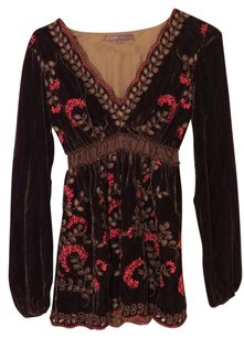 Hale Bob Celebrity Velvet Lace Top Brown, Pink