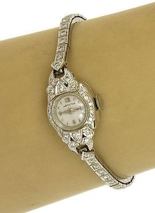 Hamilton 14k White Gold Diamond Ladies Hamilton Mechanical Wrist Watch