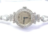 Hamilton Platinum Vintage Hamilton Round Baguette Diamond Watch 4.00ct