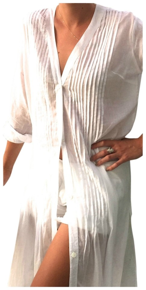 Caftan Dress White Cotton/Beach Beautiful Cover Up  Or Beach Causal Dress-ON SALE