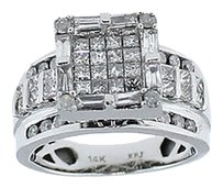 Other Ladies Solid 14K White Gold 1.36ctw Diamond Cluster Ring 5.8 Grams Size 5.5