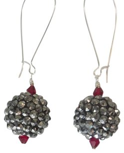 Dark gray ball red crystal silver wire handmade earrings