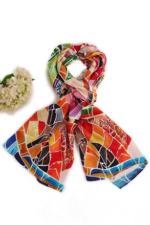 Other Extra Long Silk Twill Scarf - High Quality Digitally Painted Blue and Orange Geometry Theme with hand-rolled hem 69