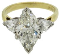 18k Yellow Gold & Platinum 4.20ctw Marquise & Pear Cut GIA Diamond Engagement Ring