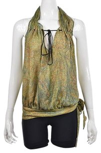 Haute Hippie Hh Womens Green Blue Halter Silk Printed Shirt Blouse Multi-Color Halter Top
