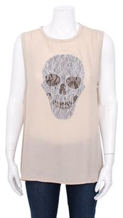 Haute Hippie Nude Black White Lace Silk Muscle Skull Sleevless Tank Ml Top Pink