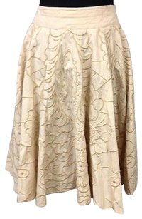 Hazel Floral Embroidered Side Zip Sma 4616 Skirt Beige