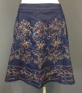 Hazel Lined Embroidery Sequin Accented Mini Sma 3158 Mini Skirt Blue