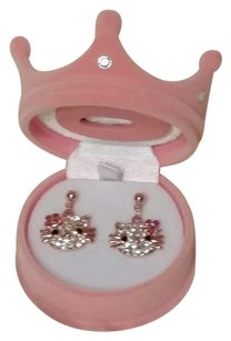 Hello Kitty Hello Kitty Crystal Dangle Earrings Rose Gold With Crystal cz stones