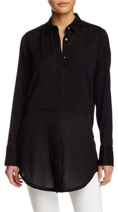 Helmut Lang Gray Silk Button Top Black
