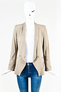 Helmut Lang Helmut Lang Taupe Draped V Neck Double Breasted Ls Cuffed Blazer