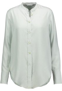 Helmut Lang Mint Pinstriped Tunic Button Down Shirt Top Green
