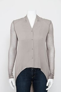 Helmut Lang Gray Silk Button Top Pink