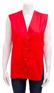 Helmut Lang Chintz Poplin Top Red
