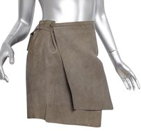 Helmut Lang Womens Twilight Leather Wrap Straight Skirt Taupe