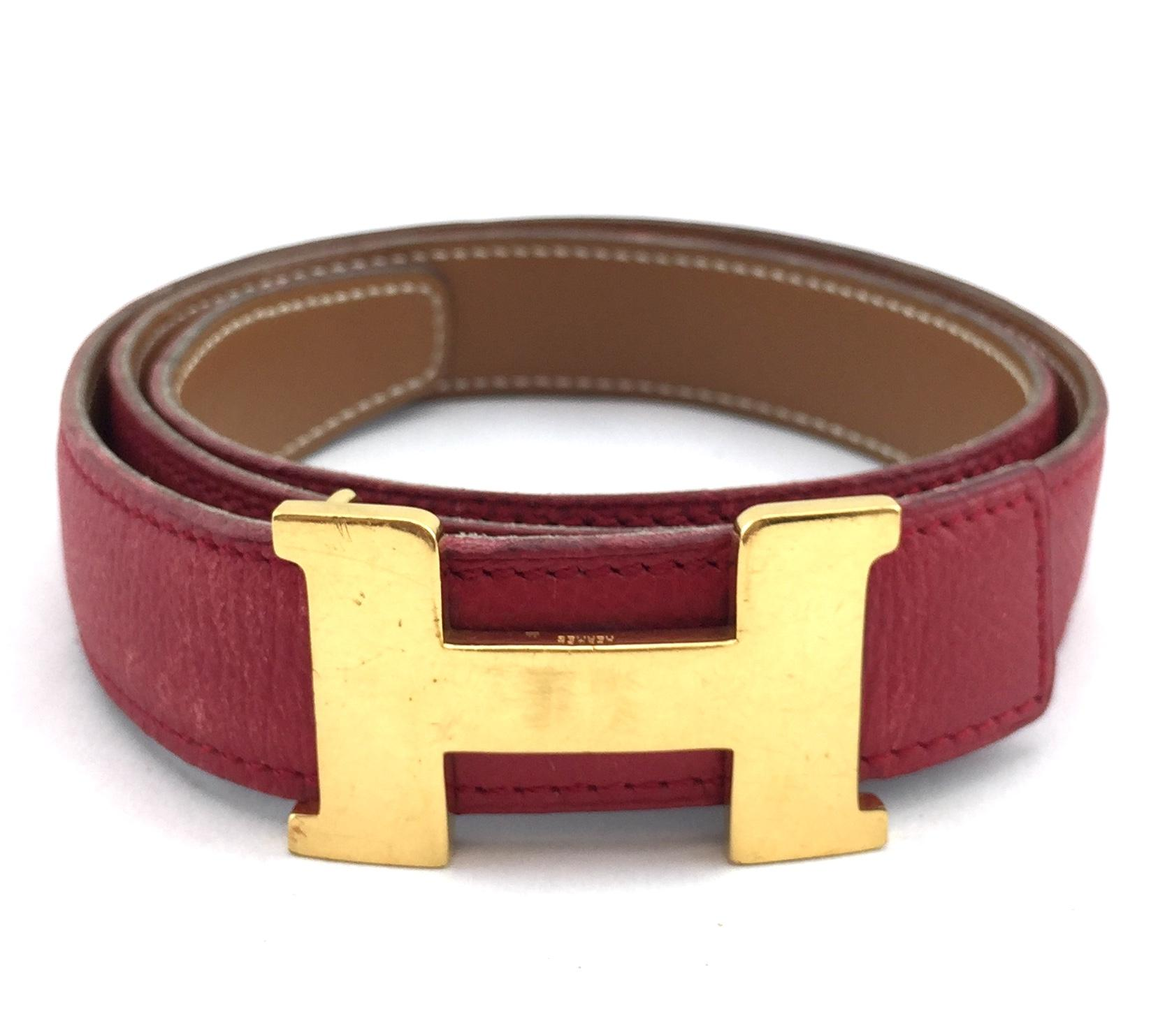 designer h belt u1iw  Herms #11565 24 Mm Gold H Belt Size 65 Reversible Belt Red on Gold
