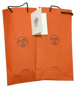 Hermès 2 Hermes shopping bags and receipt holder