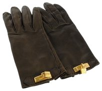Hermès Authentic HERMES Logos Winter Gloves Brown Gold Leather France Vintage LP08498