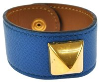 Hermès AUTHENTIC HERMES MEDORU STUDDED BANGLE BRACELET BLUE LEATHER MADE FRANCE NR00667