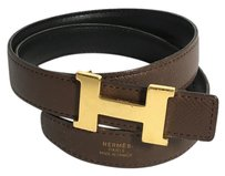 Hermès Authentic Hermes Reversible Gold H Buckle Belt