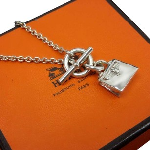 Hermès Authentic Hermes Sterling Silver Kelly Bag Pendant Necklace