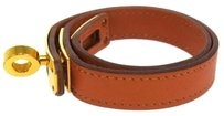Hermès Authentic HERMES Vintage Logos Leather Bracelet Bangle Orange France S00303