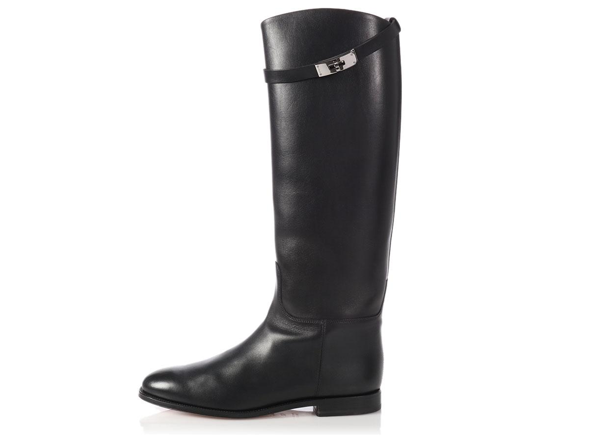 Hermès Black Box Leather Jumping Boots/Booties Size EU 42 (Approx. US 12) Regular (M, B)
