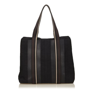 Hermès Black Brown Canvas Tote