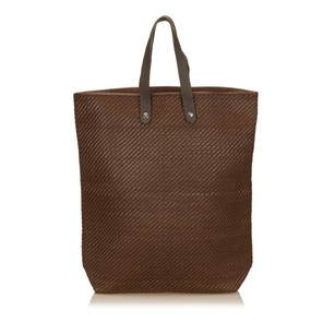 Herms Brown Canvas Leather Tote